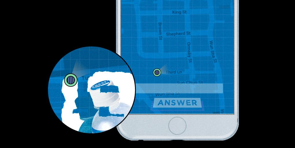 上街跑步或步行,控制圓點刮走<br /> 地圖藍色區域